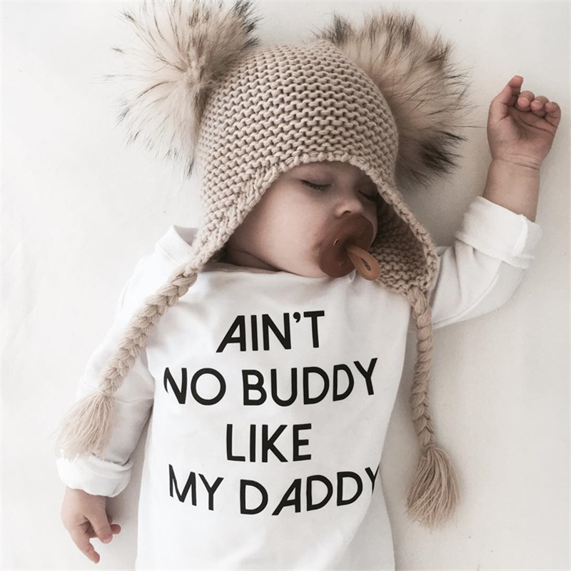 2018 Fashion White Onesie Baby Bodysuit No Buddy Like My Daddy Letter Print Long Sleeve Baby White Onesie Baby Girl Clothes