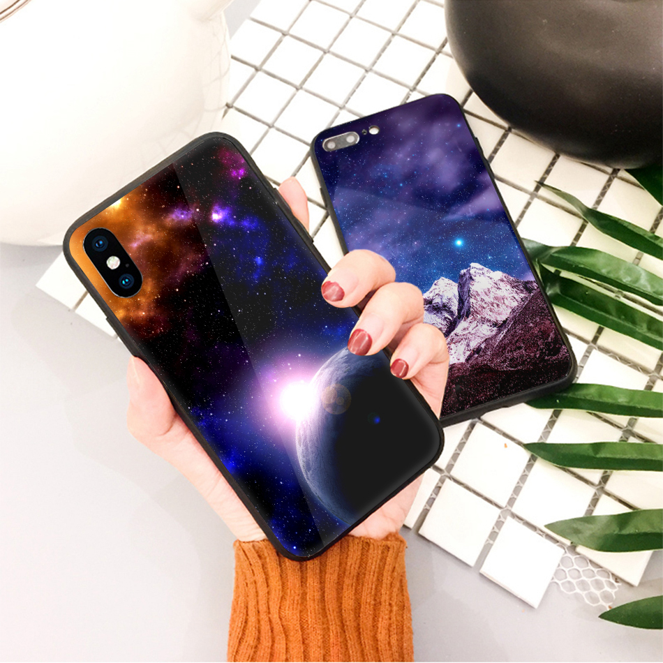 TOMKAS Star Sky Pattern Glass Case For iPhone X 7 8 6 6 s Cover Phone Cases For iPhone 7 8 6 6s Plus X Case Silione TPU PC Coque (20)