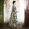JN121 Nuevo Otoño de la Llegada 2016 de la vendimia del collar del soporte impreso una línea de vestido de las mujeres maxi largo de la manga suelta de algodón y lino