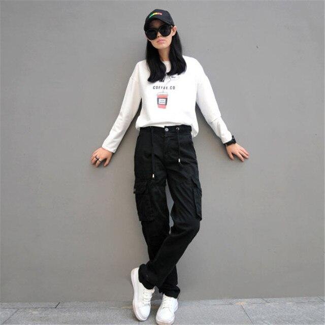 3ac5c3788804 Donna Pantaloni Cargo In Cotone Pantaloni Sciolti Plus Size Signore Harem  Hip Hop Pantaloni Militari Donne
