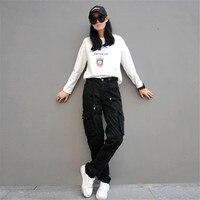 Woman Cargo Pants Cotton Trousers Loose Plus Size Ladies Harem Hip Hop Army Pants Women Wide Leg Casual Pants A2787