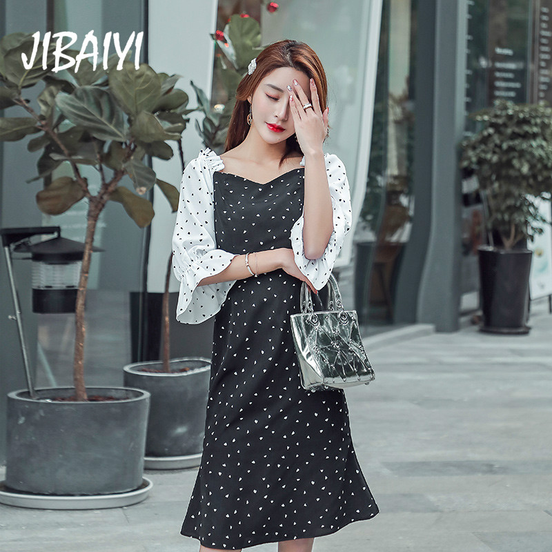 JIBAIYI Elegant Off Shulder Chiffon Women Dress Summer Sexy Slash Neck Party Dresses for Female Office Dot Flare Sleeve Sundress