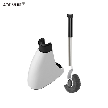 home Toilet Brush cleaning Bathroom accessories Stainless Steel handle Holder Floor-standing With Base WC Decoration Set Tools недорого