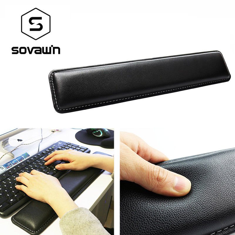Sovawin Leather Keyboard Wrist Rest Pad Gamer PC Handguard Comfortable Ergonomic Game Large Mat 45*8.5*1.8 Cm For Computer
