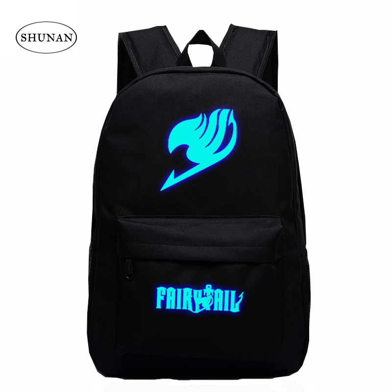 2016 Japan Anime Printing Backpack Cute Fairy Tail Backpack School Bag For Teenagers Luminous Galaxy Nylon Backpack Travel Bags 1 pcs cute anime school stuffed