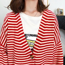 Red Black Cross Striped Oversized Cardigan Sweater Woman Loose Knitwear Stylish Streetwear Autumn Knitted Cardigans Sweaters