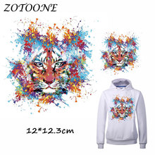 ZOTOONE Colorful Tiger Patch for Clothes T Shirt Animal Ironing on Patches Sticker DIY Heat Transfer Accessory Washable Applique
