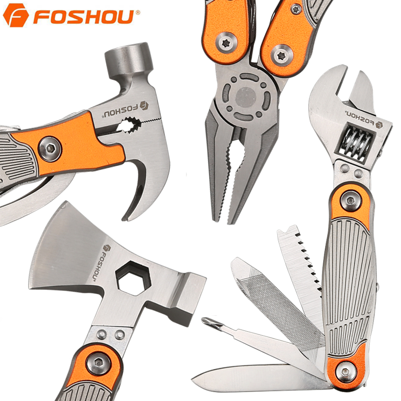FOSHOU Mini Multitool Pliers with Screwdriver Knife Cutter Set Camping Hiking Folding Pliers Outdoor Survival Hand Tools rdeer multifunction cutting pliers multitool diy outdoor stainless steel folding with knife screwdriver hand tools
