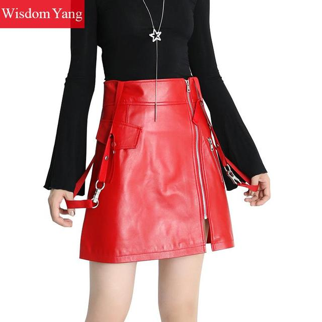739cae1da49 Black Red Real Genuine Leather Skirt High Waisted Mini Skirts Women Bodycon  2018 Office Sexy Party Sexy Ladies Aline Overalls