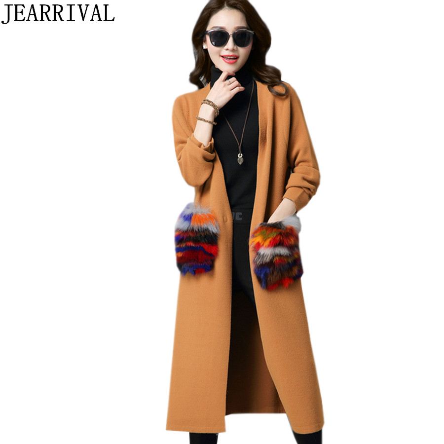 Women Long Cardigan 2018 Autumn Knitted Sweater Casual Attachable Fur Pockets Knitting Female Cardigans Winter Coats Pull Femme