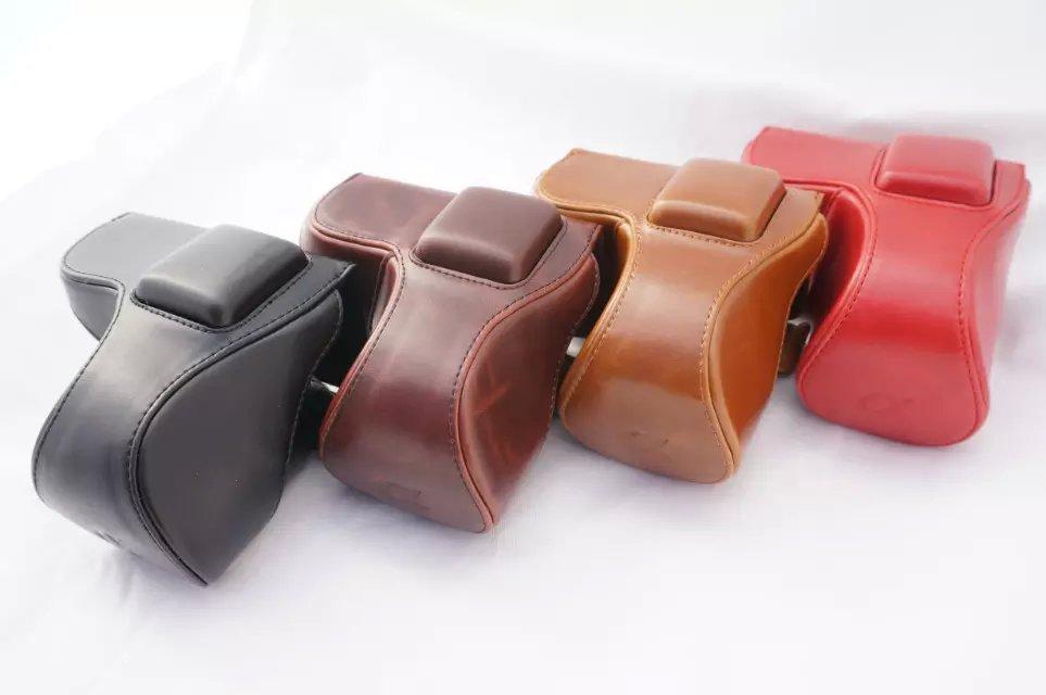 Nuevo Retro Vintage pu cuero bolso de la cámara para Sony NEX 5N NEX 5 t NEX 5R Cámara caso con correa café negro marrón rojo