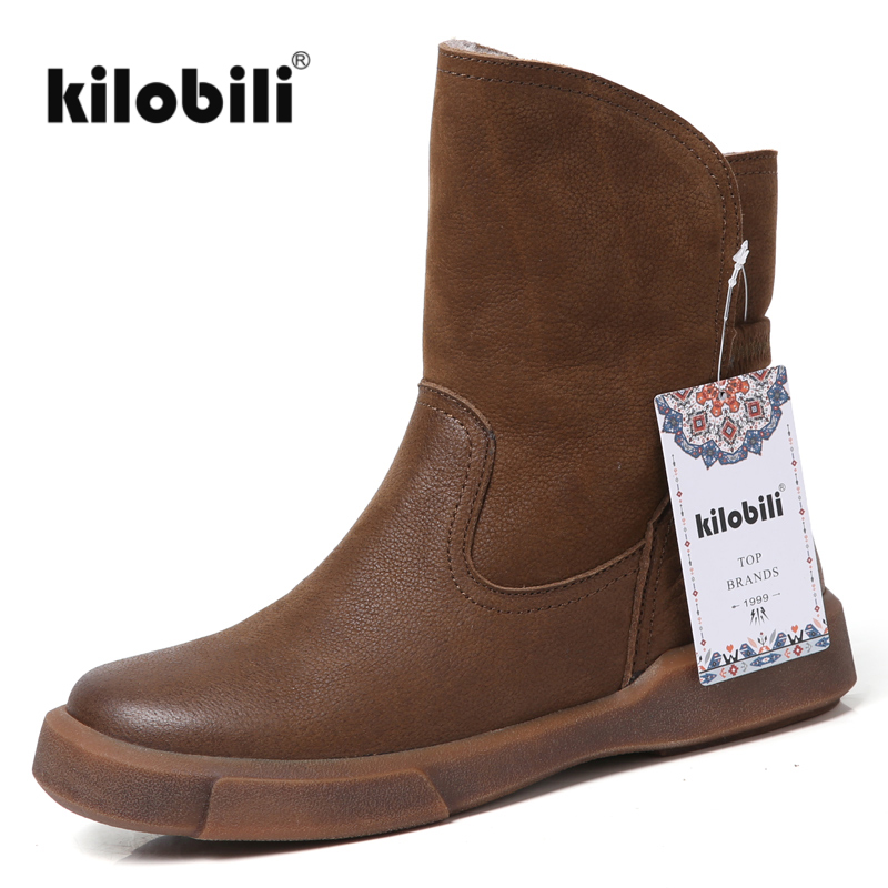kilobili 2018 Winter women snow boots shoes genuine leather slip on rubber sole Retro handmde fur ankle boots women brand blackkilobili 2018 Winter women snow boots shoes genuine leather slip on rubber sole Retro handmde fur ankle boots women brand black