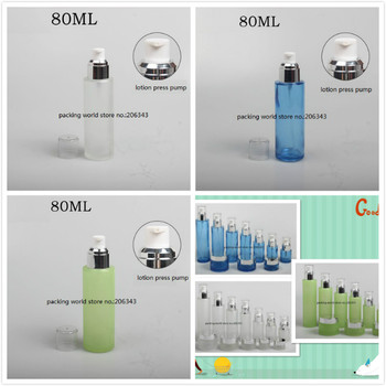 80ml frosted/green/blue glass bottle silver pump clear lid  for serum/lotion/emulsion/foundation skin care  cosmetic packing