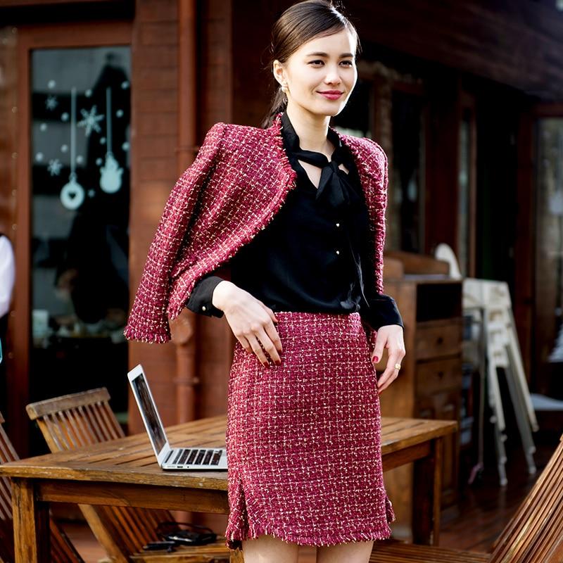 Red tweed jacket+ skirt set 2020 spring / autumn women's Tweed suit  o-neck short jacket fish tail skirt tweed fabric set