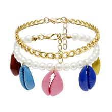 2Pcs/Set Women Colored Shell Charm Bracelets Chain Faux Pearl Bangle Statement Bohemian Beach Jewelry Lady Accessories(China)