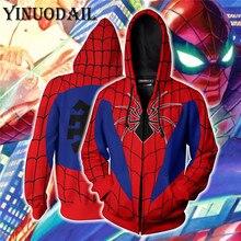 Superhero Avengers Spiderman Autumn New Casual Venom Unisex Zipper Hoodies Top Sweatshirt Jacket Coat