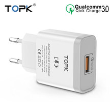 TOPK 18W Quick Charge 3.0 Fast Mobile Phone Charger EU Plug Wall USB Charger Adapter for iPhone Samsung Xiaomi Huawei(China)