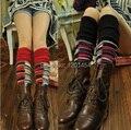 Novo 2014 lã de coelho grade quadrada Jarajuku misturado fios de malha espessamento bota tampa do pé da meia tornozelo térmica fantasia cobre gaiter