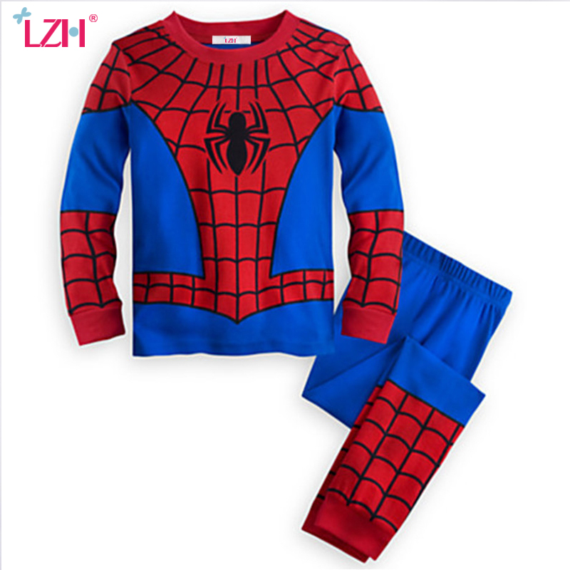 LZH Toddler Boys Clothing IronMan Spiderman T-shirt+Pant Outfit Kids Clothes Boys Sports Suit Boys Clothes Set Children Clothing 2015 new arrive super league christmas outfit pajamas for boys kids children suit st 004