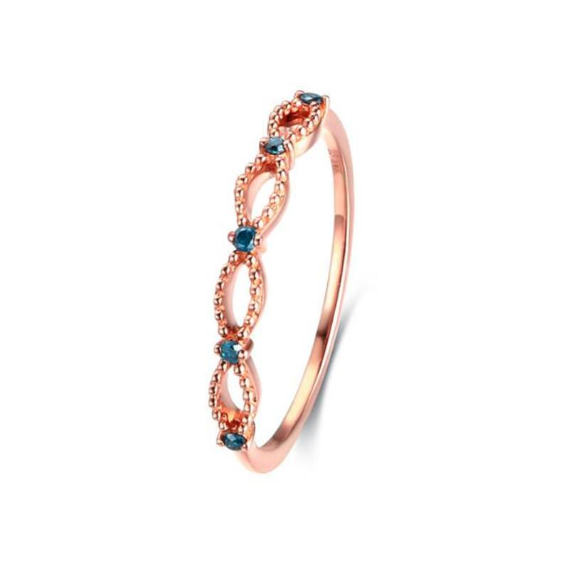 18K Gold Simple Crystal Infinity Ring For Women Rose Gold Color Hollow Party Rings Jewelry Bague Anillos 1.16G simple style solid color hollow out spiral ring for women