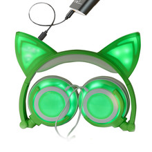 Foldable Cat ear headphones Flashing Glowing Wired headset cat headphone with LED light  For PC Computer Samsung Xiaomi earphone