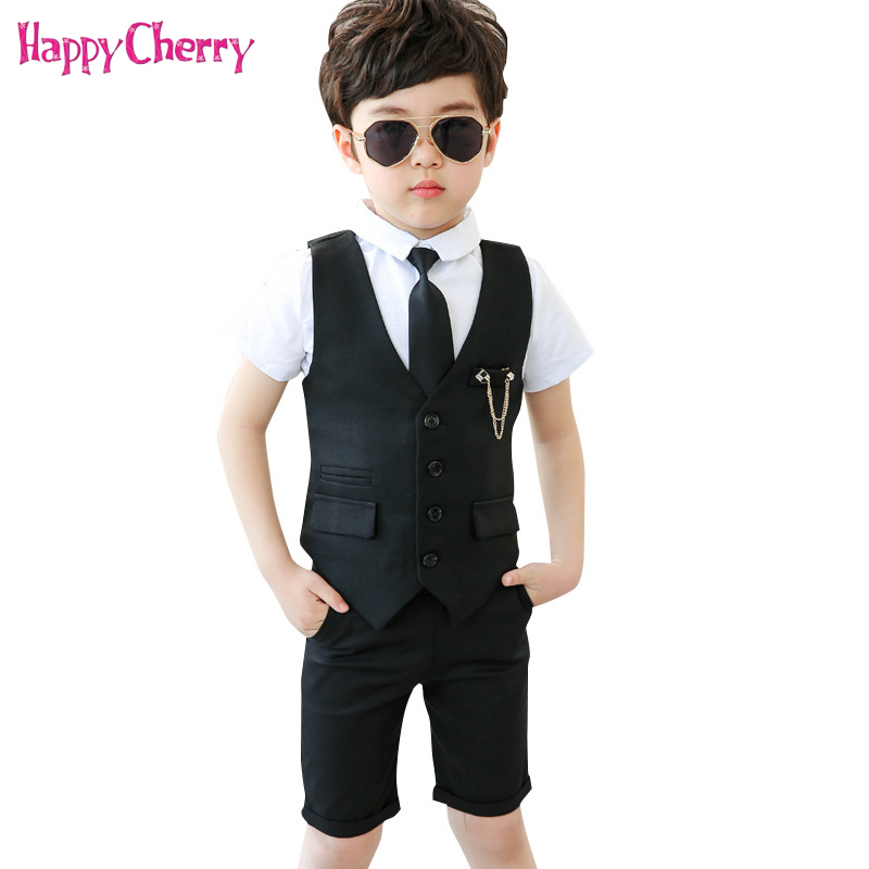 Gentleman Boy Formal Wedding Party Costume School Suit for Kids Tuxedo Shirts Waistcoat Shorts Ties Suit 4Pcs/set Prom DressGentleman Boy Formal Wedding Party Costume School Suit for Kids Tuxedo Shirts Waistcoat Shorts Ties Suit 4Pcs/set Prom Dress