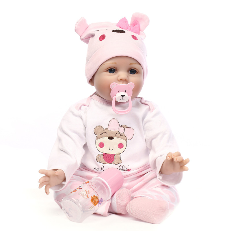 New Hair Rooted Realistic Reborn Baby Dolls Soft Silicone 22 /55cm Lifelike Newborn Doll Girl Refinement Christmas Gift L613 2015 new design soft silicone reborn baby doll rooted human hair fashion doll christmas gift