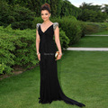 New Designer 2016 Chiffon Long Black Evening Dress Turkish Islamic Clothing Robe De Soiree V Neck Cap Prom Party Gowns Dresses