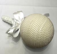 Branco Pérolas Frisado com Fita Do Laço Bola Bouquet Para Casamento Da Noiva Festa Local de Férias Decoração Cor-14