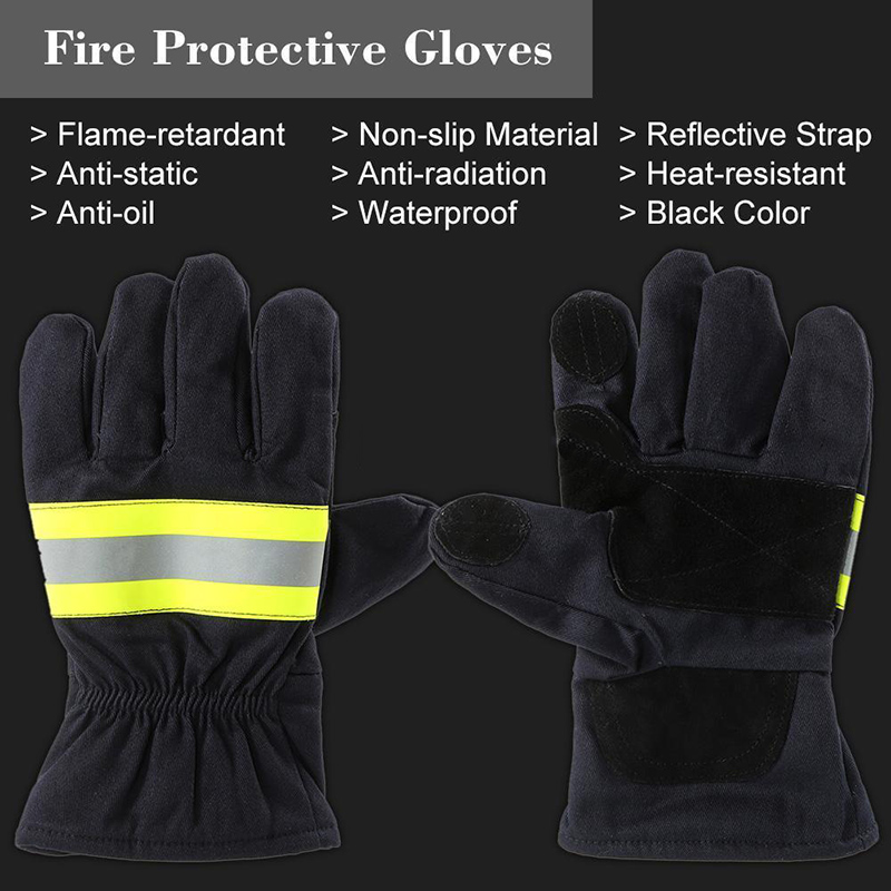2x Firefighting Gloves Fire-Proof Heat Proof Non-disposable Five Fingers Gloves
