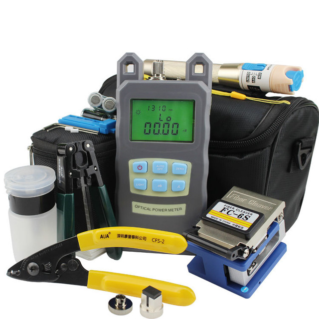 Fiber Optic Tool Kit with Optical Power Meter and Visual Fault Locator 1mw and Optical Fiber Cutter