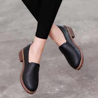 2019 Fashion Women Pumps Shoes Low Heel Square Heel Pumps Solid Leather Women Casual Shoes Slip On Pumps