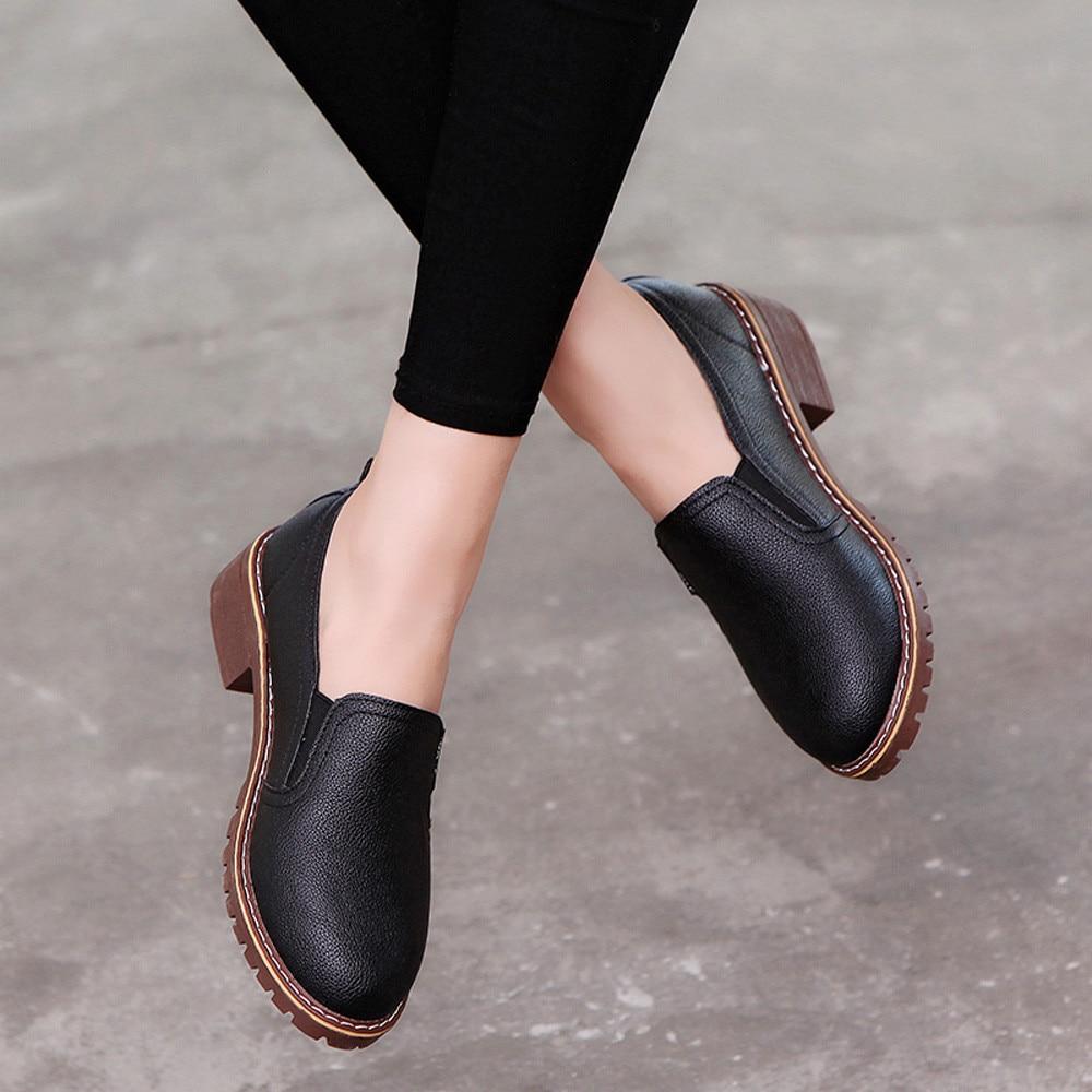 2019 zapatos de mujer de moda Zapatos de tacón bajo de tacón cuadrado bombas de cuero sólido mujeres zapatos casuales deslizamiento en bombas