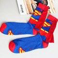 Весна Осень 1 пара 100% хлопок новая мода Супермен высокое качество мультфильм носки человек вскользь чулки мальчик meias