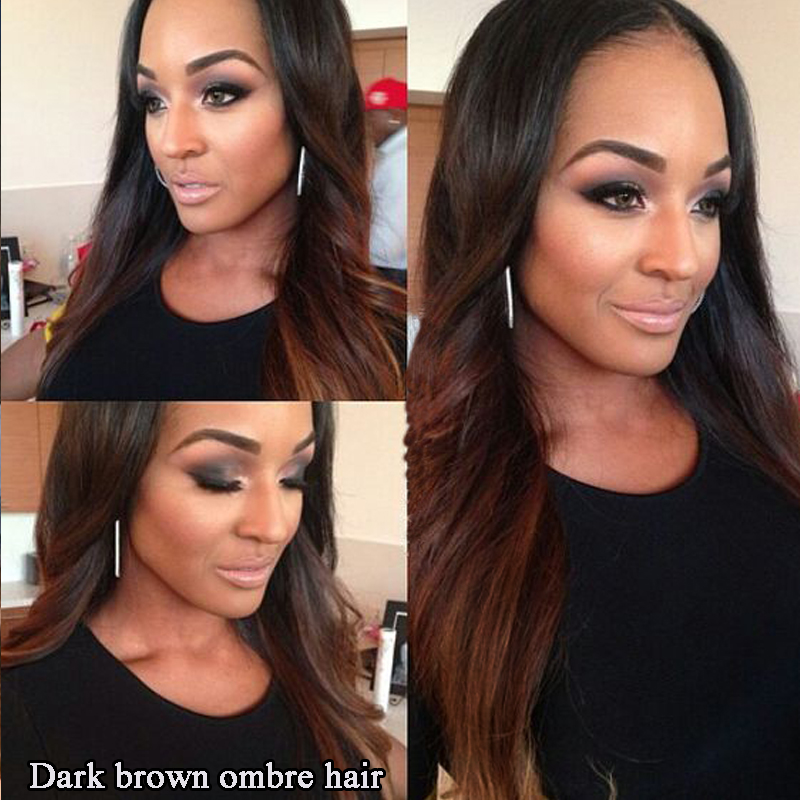 2 Tone Ombre Blue Human Hair Weave Colored Brazilian Straight Hair 3