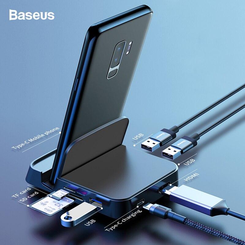 Baseus usb tipo c hub docking station para samsung s10 s9 dex pad estação USB-C para hdmi doca adaptador de energia para huawei p30 p20 pro
