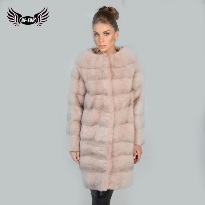 BFFUR Top Grade Natural Fur Coat Full Luxury Solid Capped Woman Winter 2018 Slim Warm Long Coat Women Real Mink Fur Coat Gray