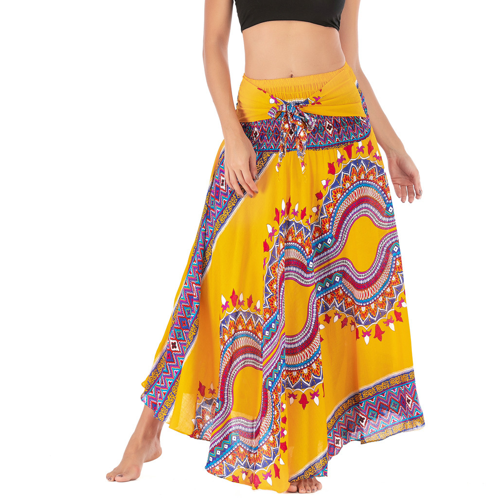 JAYCOSIN Women Long Hippie Bohemian Gypsy Boho Flower Elastic Waist Floral Halter Skirt Geometric Princess Skirts travel June 24