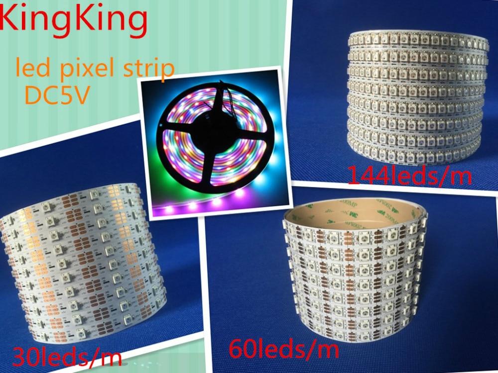 1m / 4m / 5m WS2812B Smart RGB LED Pixel Strip Svart / vit PCB 30/60 - LED-belysning - Foto 2