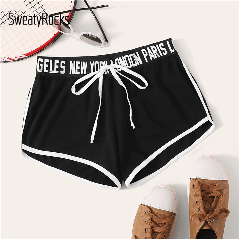 SweatyRocks Black Knot Letter Tape Waist Dolphin Shorts Streetwear Casual Athleisure Shorts 2019 Straight Leg Women Shorts