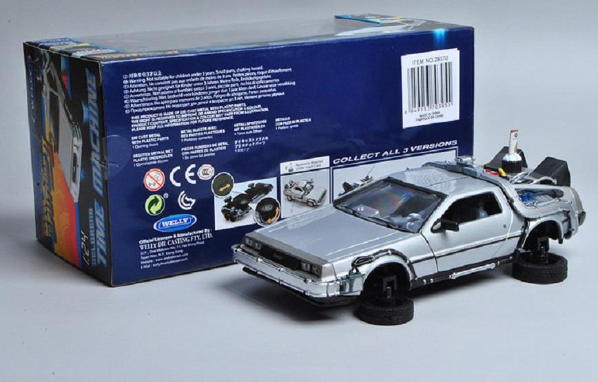 Welly 1:24 Delorean Machine à remonter le temps vers le futur partie 2 Mode mouche moulé sous pression modèle de voiture nouveau dans la boîte
