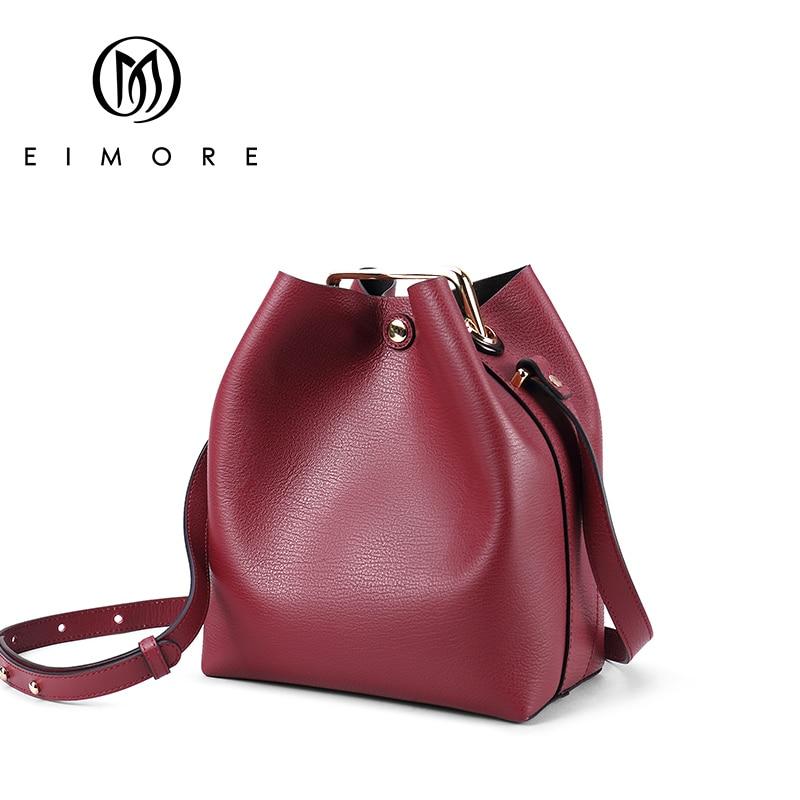 где купить EIMORE Women's Crossbody Bags Genuine Leather Small Bucket Bag Fashion Female Shoulder bags High Quality Women Messenger Bag по лучшей цене