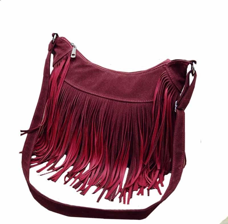 2018 Vintage Hippie Faux Suede Fringe Tassel Messenger Bag Women Hobo Shoulder Bags Crossbody Handbag 4 Colors free shipping