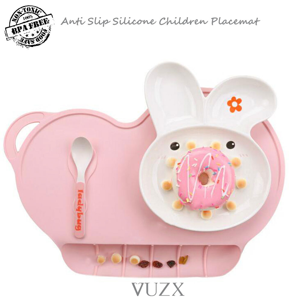 BPA Free Large Silicone Children Placemat Food Grade Silicone Dinner Table Mat For Yong Kids Anti Slip Pad Heat Resist Portable