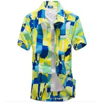 Graffiti Funny Mens Shirts Print Floar Man Hawaiian Shirt Short Sleeve Blouse Casual Praia Clothing Brand