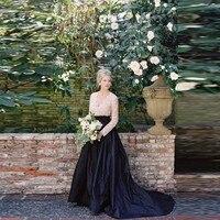 Elegant Black Long Taffeta Skirts For Bridal To Photoshoots 2018 A Line Floor Length Female Skirt