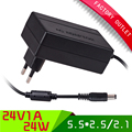 1pcs Universal EU plug  ac 100-265V dc 24V 1A power supply / power adapter with 5.5*2.5mm jack