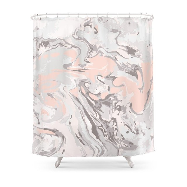 Effect Marble Pink Shower Curtain Waterproof Polyester Fabric Bathroom Decor Multi Size Printed With 12 Hooks