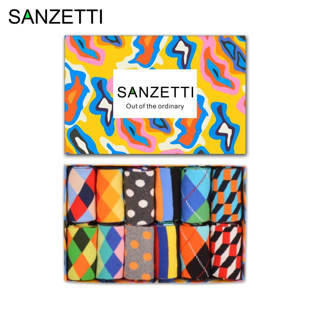 SANZETTI 12 pairs/lot Gift Box Causal Funny Socks Dots Stripe Pattern Classic Mens Cotton Colorful Colorful Skateboard Socks