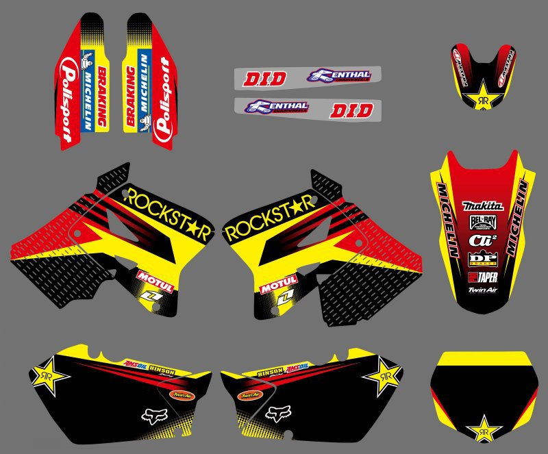 все цены на New Style Rockstar TEAM DECALS STICKERS Graphics Backgrounds Kits For Suzuki RM125 RM250 2001 - 2010 2011 2012 RM 125 250